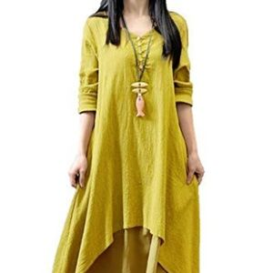 Women Boho Layer Vintage Maxi Dresses with Pockets
